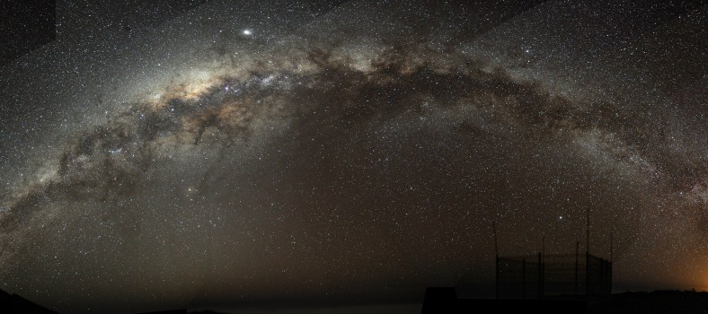 Milky way, night sky panoramic photo.