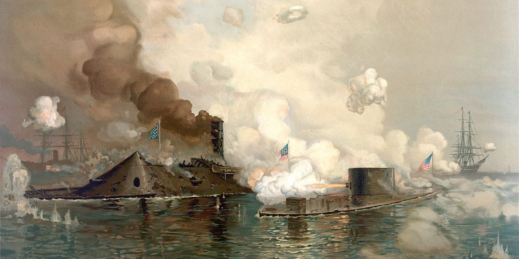 Monitor vs. Merrimack, civil war first ironclad warships